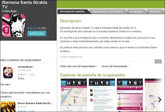 Información de la App Semana Santa 2012 Giralda TV